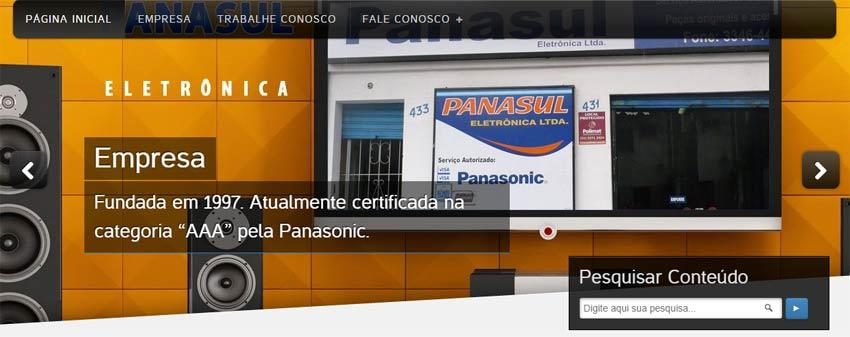Imagem de Topo do Website da Panasul eletrônica