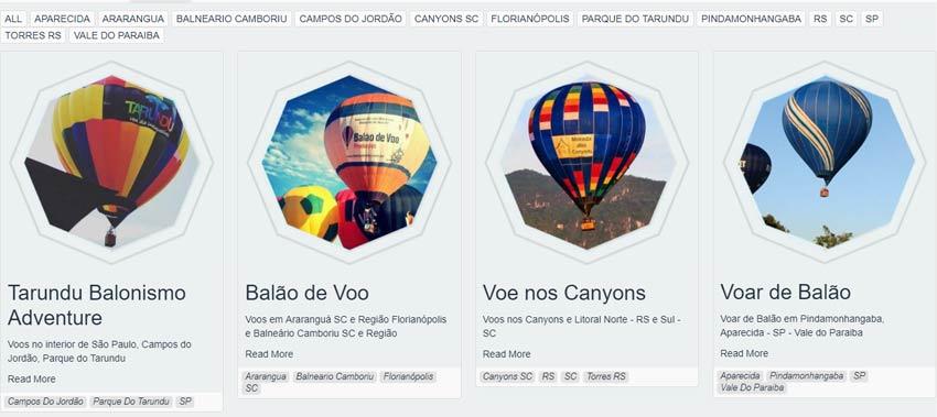 Website FlyStore - Página de Escolha da Equipe para Realização de Voo de Balão