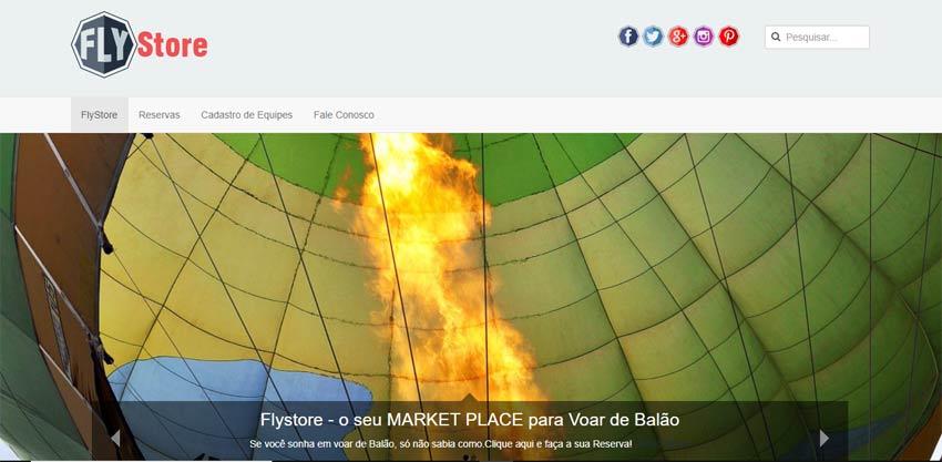 Website FlyStore - Market Place para Voos de Balão
