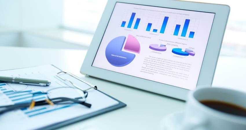 Relatórios: Gráfico de Desempenho de Estratégia de Marketing Digital